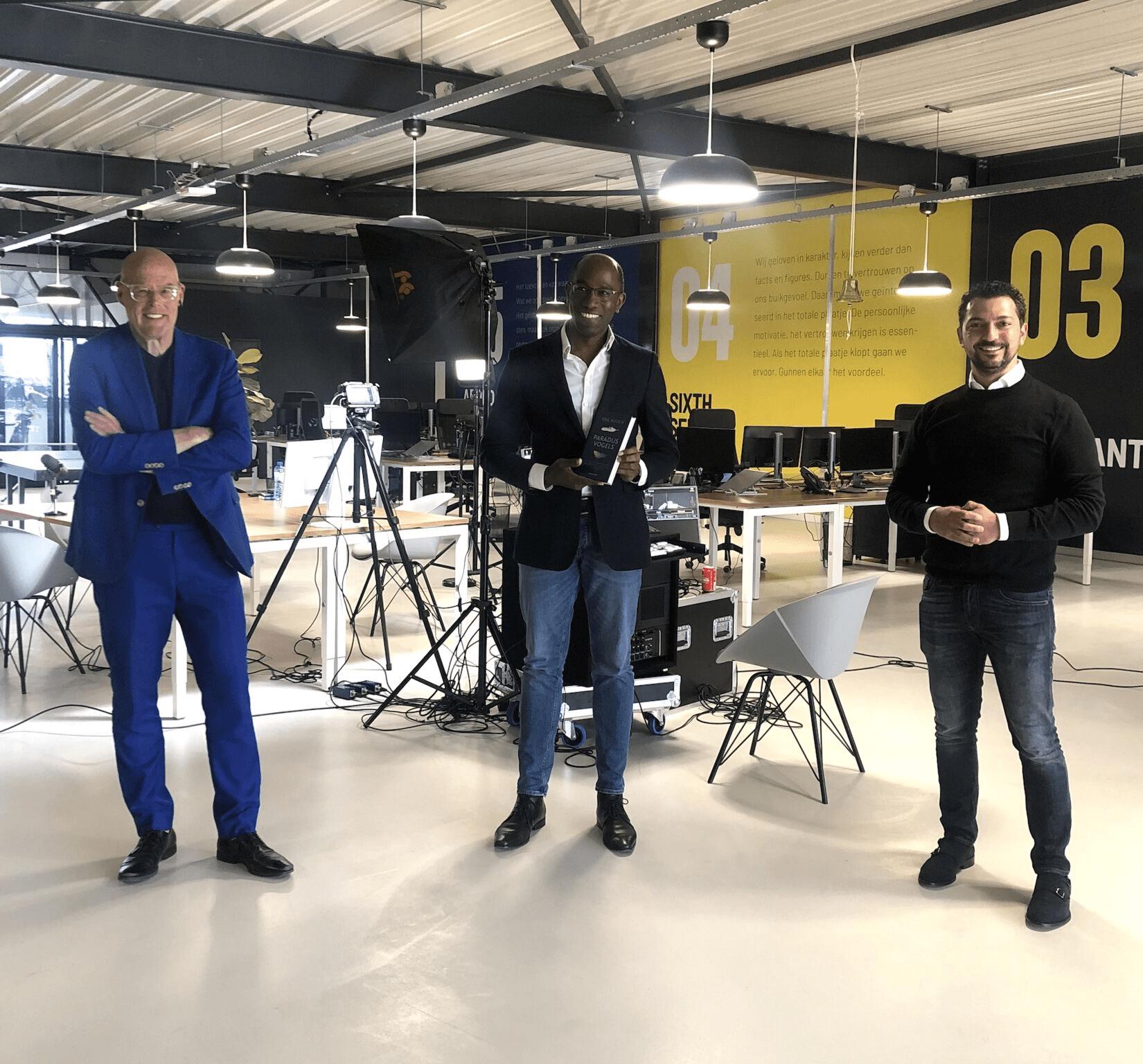 Vincent Everts, Fatih Gunes directeur van Progress en Eric Kuisch auteur 'Paradijsvogels' en COO bij Eurofiber
